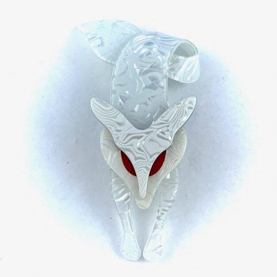 Lea Stein Renard Fox snow white swirl with red eyes